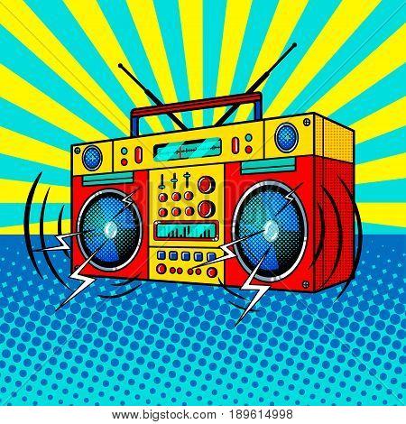 Boombox comic book pop art retro style vector illustratoin