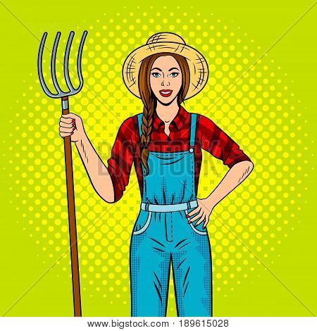 Girl farmer with pitchfork pop art retro vector illustration. Comic book style imitation.