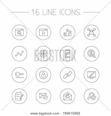 Set Of 16 Optimization Outline Icons Set.Collection Of Advertising, Targeting, Cost Per And Other Elements.
