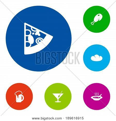 Set Of 6 Eat Icons Set.Collection Of Baguette, Martini, Ale And Other Elements.