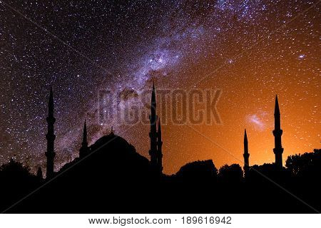 The mosque in Istanbul at night under the starry sky.