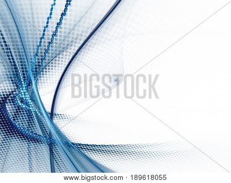 Abstract background element. Fractal graphics. Dynamic composition of curves, blurs and halftone effect. Blue and white colors.