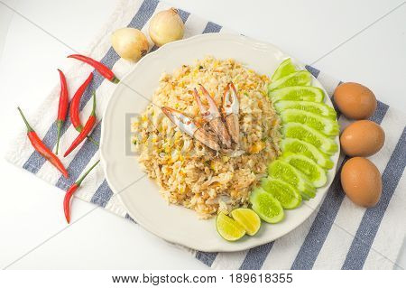 Crab fried rice on white background Thai food top view
