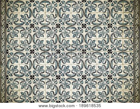 Highly detailed image of vintage azulejos traditional Portuguese tiles