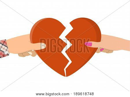 Man and female holding two halves of broken heart. Breakup heart concept. Unhappy love, conflict. vector illustration in flat style