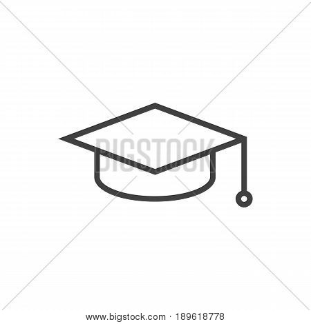 Isolted Academic Hat Outline Symbol On Clean Background. Vector Graduation Cap Element In Trendy Style.