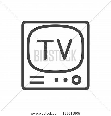 Isolted Television Outline Symbol On Clean Background. Vector Tv Set Element In Trendy Style.