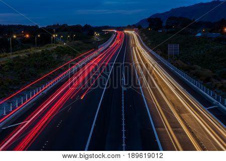 Traffic light trails looking north on the Kapiti expressway.
