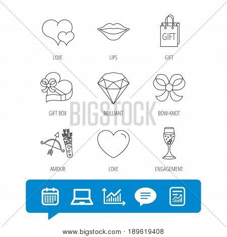 Love heart, brilliant and engagement ring icons. Bow, smile and gift box linear signs. Valentine amour arrows flat line icons. Report file, Graph chart and Chat speech bubble signs. Vector