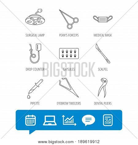 Medical mask, capsules and dental pliers icons. Surgical lamp, scalpel and drop counter linear signs. Tweezers, pipette and forceps flat line icons. Vector