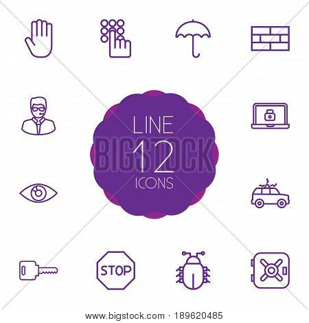 Set Of 12 Procuring Outline Icons Set.Collection Of Vision, Lock, Safe And Other Elements.