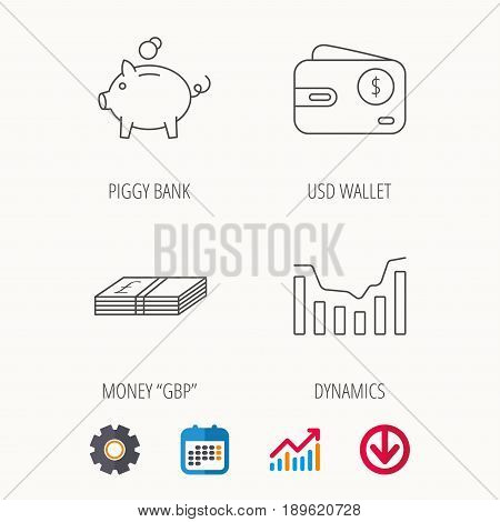 Piggy bank, cash money and dynamics chart icons. USD wallet linear sign. Calendar, Graph chart and Cogwheel signs. Download colored web icon. Vector
