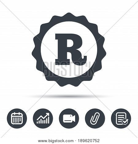 Registered trademark icon. Intellectual work protection symbol. Calendar, chart and checklist signs. Video camera and attach clip web icons. Vector