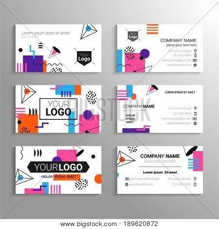 Business cards - vector template with abstract flat design background. Represent yourself or your company, services, contact information. Modern outlook with different shapes. Copy space for your logo and other info.