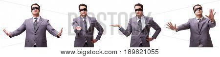 Blindfolded businessman isolated on white