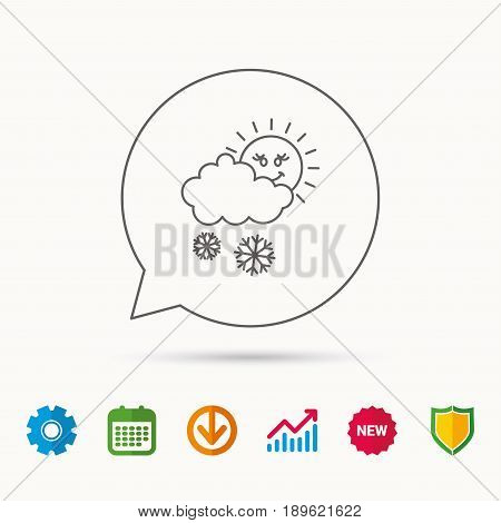 Snow with sun icon. Snowflakes with cloud sign. Snowy overcast symbol. Calendar, Graph chart and Cogwheel signs. Download and Shield web icons. Vector