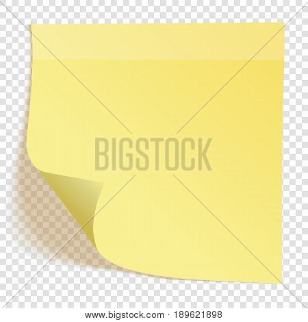 Yellow sticky note with transparent shadows, isolated on transparent background, vector illustration