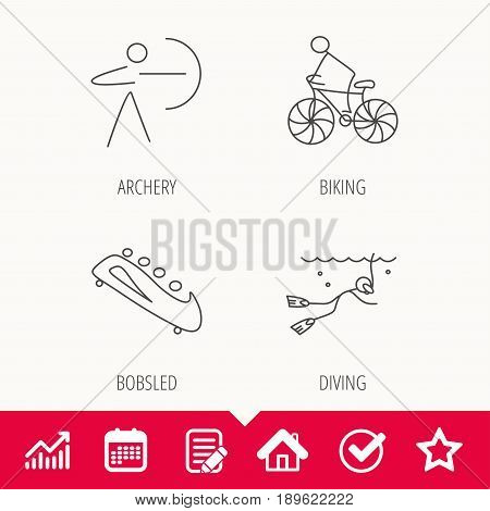 Diving, biking and archery icons. Bobsled linear sign. Edit document, Calendar and Graph chart signs. Star, Check and House web icons. Vector