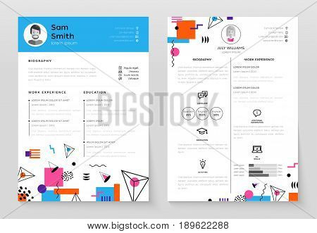 Personal Resume - vector template illustration with abstract flat design background. Make your resume structured and well organized. Biography, work experience, education. Modern outlook with different shapes.