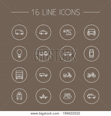 Set Of 16 Transport Outline Icons Set.Collection Of Lorry, Motorcycle, Tram And Other Elements.