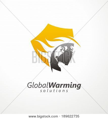 Global warming solutions conceptual symbol design. Vector image with shield shape, Earth globe and flames  in negative space. Protect the planet.