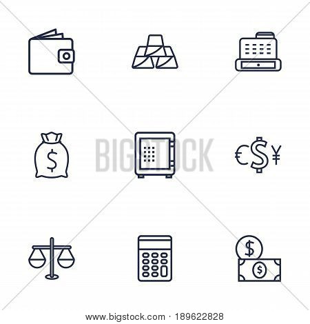 Set Of 9 Budget Outline Icons Set.Collection Of Safe, Moneybag, Dollar And Other Elements.