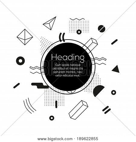 Abstract Background - vector template black and white illustration for your presentation. Make your idea look good. Heading with text. Modern outlook with different shapes. Copy space for your information.
