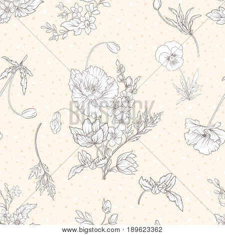 Seamless pattern with poppy flowers, daffodils, anemones, violets in botanical vintage style. On beige background . Stock line vector illustration.