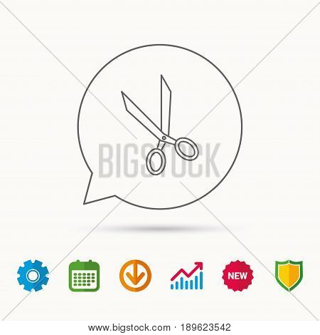 Tailor scissors icon. Hairdressing sign. Grooming symbol. Calendar, Graph chart and Cogwheel signs. Download and Shield web icons. Vector