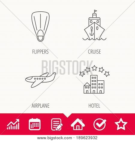 Cruise, flippers and airplane icons. Hotel linear sign. Edit document, Calendar and Graph chart signs. Star, Check and House web icons. Vector
