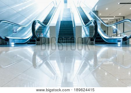 Modern escalator and architecture interior design.,Indoor escalator.