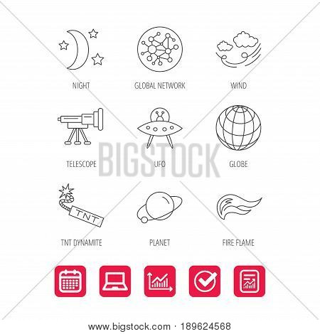 Ufo, planet and telescope icons. World, global network and night linear signs. TNT dynamite, fire flame and wind flat line icons. Report document, Graph chart and Calendar signs. Vector