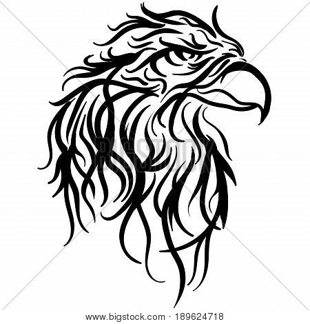 The stylized image of a eagle head. Vector stylized face of ink sketch eagle. Eagle tribal tattoo Vector illustration.