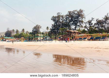 Goa, India, The Beach Of Arambol. Tropical Sandy Beach Of The Arabian Sea.