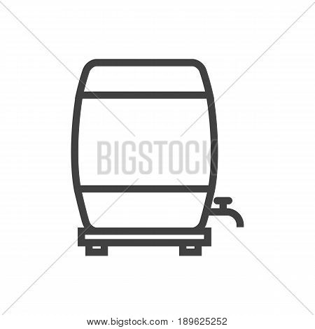 Isolted Barrel Outline Symbol On Clean Background. Vector Wine Cask  Element In Trendy Style.