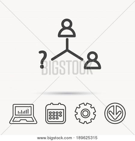 Vacancy or hire job icon. Teamwork sign. Question mark symbol. Notebook, Calendar and Cogwheel signs. Download arrow web icon. Vector