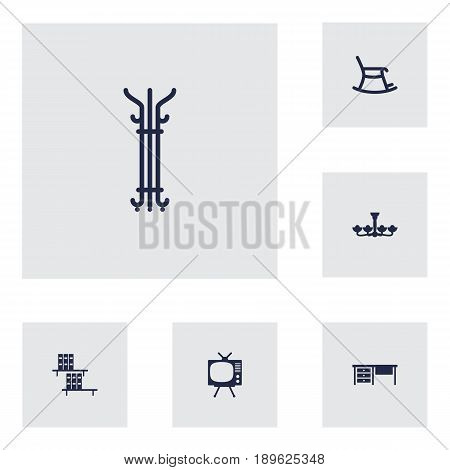 Set Of 6 Decor Icons Set.Collection Of Coat Stand, Bookcase, Worktop Elements.