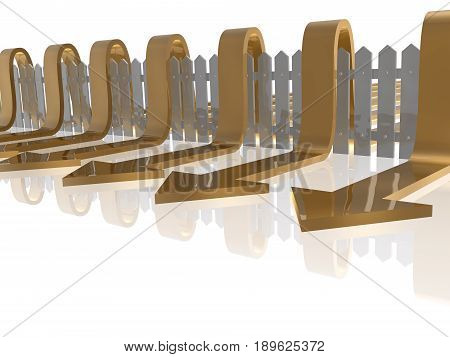 Brown arrows and fence on white reflective background 3D illustration.