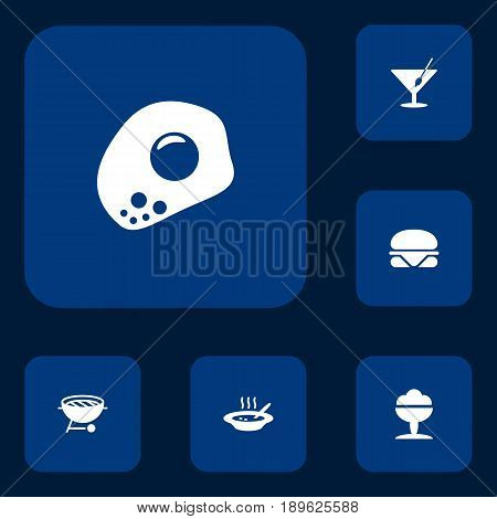 Set Of 6 Dish Icons Set.Collection Of Barbecue, Eggs, Martini And Other Elements.