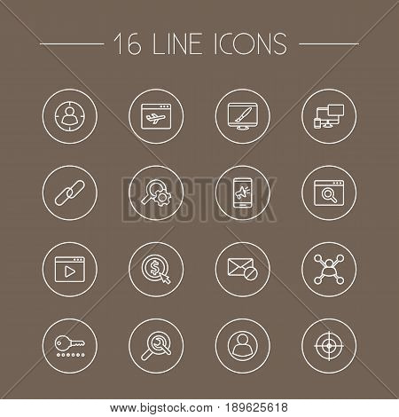 Set Of 16 Engine Outline Icons Set.Collection Of Targeting, Scan, Keywords And Other Elements.