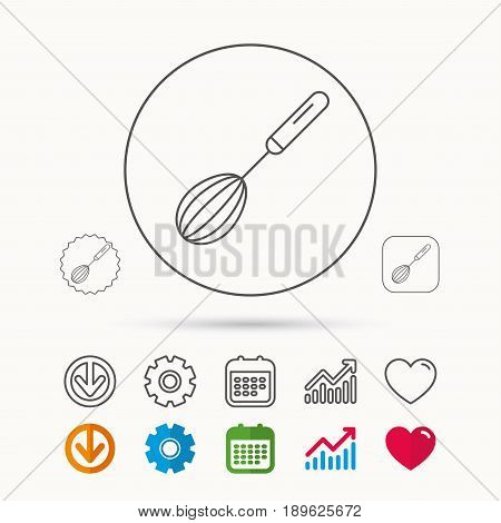 Whisk icon. Kitchen tool sign. Kitchenware whisking beater symbol. Calendar, Graph chart and Cogwheel signs. Download and Heart love linear web icons. Vector