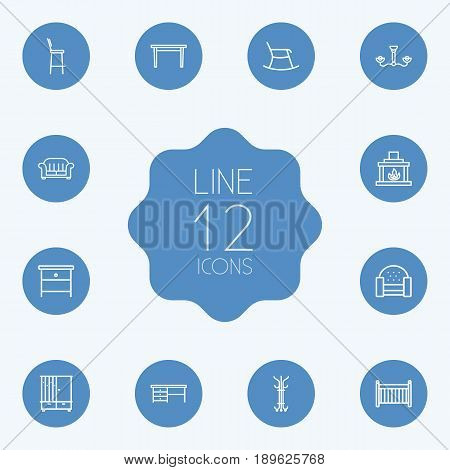 Set Of 12 Decor Outline Icons Set.Collection Of Table, Hanger, Bar Stool And Other Elements.