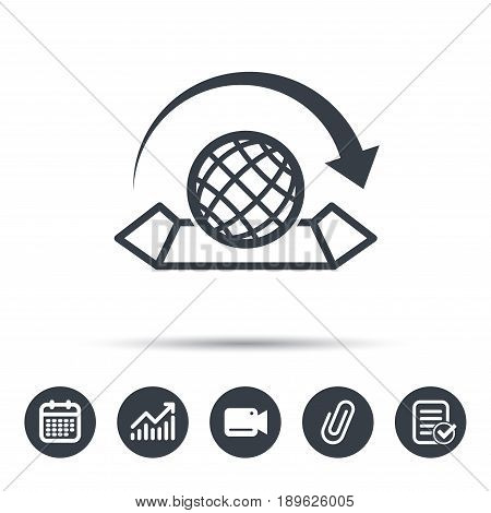 World map icon. Globe with arrow sign. Travel location symbol. Calendar, chart and checklist signs. Video camera and attach clip web icons. Vector