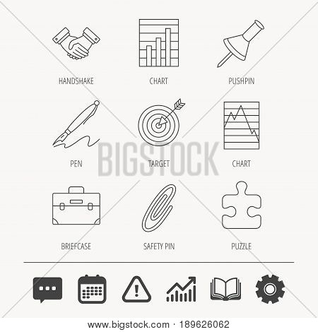 Handshake, graph charts and target icons. Puzzle, pushpin and safety pin linear signs. Briefcase and pen flat line icons. Education book, Graph chart and Chat signs. Vector