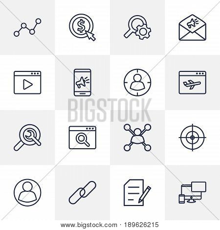 Set Of 16 Engine Outline Icons Set.Collection Of Targeting, Stock Exchange, Copyright And Other Elements.
