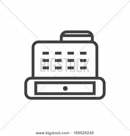 Isolted Cashbox Outline Symbol On Clean Background. Vector Cash Register  Element In Trendy Style.