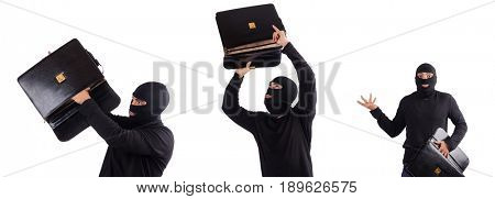 Robber checking contents of bag