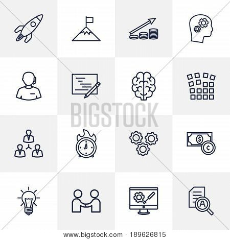 Set Of 16 Strategy Outline Icons Set.Collection Of Success, Startup, Deadline And Other Elements.