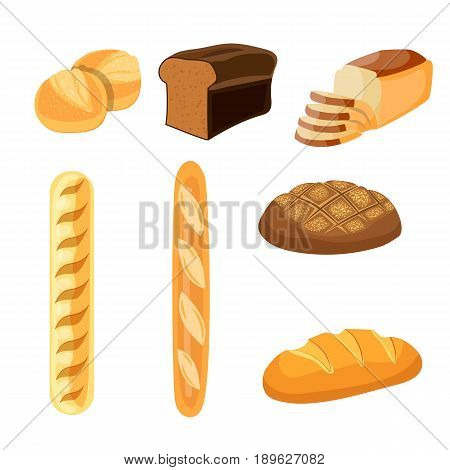 Bakery shop vector icons. Baked bread products wheat, rye bread loafs, bagels, sliced bread toasts. Elements for bakery, pastry design