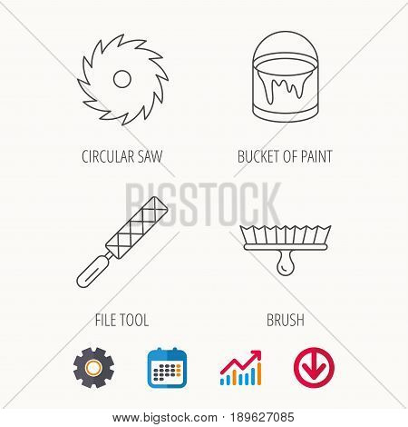 File tool, circular saw and brush tool icons. Bucket of paint linear sign. Calendar, Graph chart and Cogwheel signs. Download colored web icon. Vector